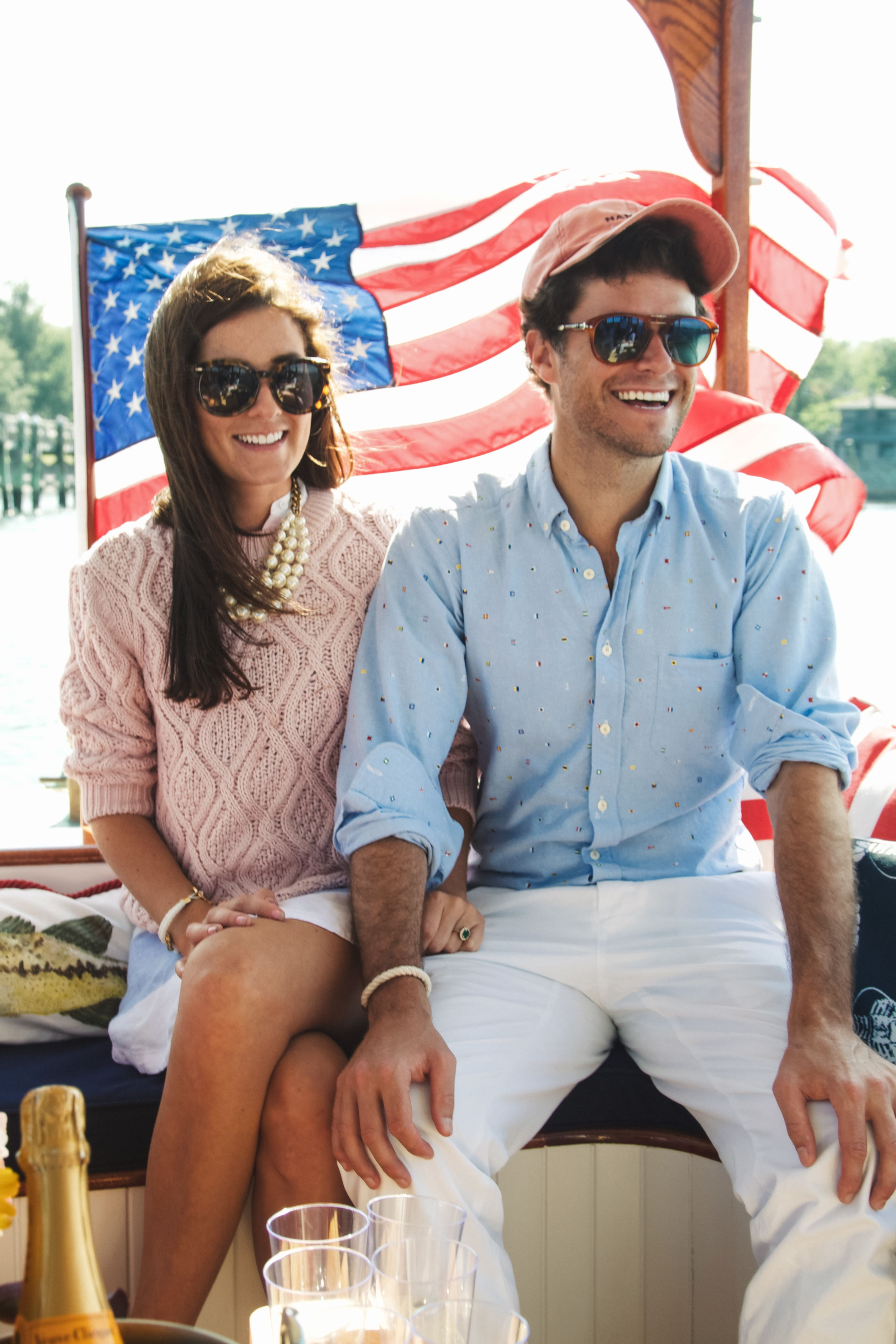 Kiel James Patrick and Sarah Vickers on a yacht.