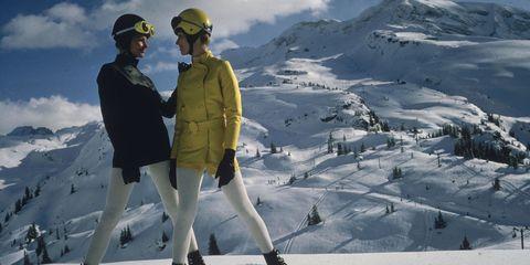Winter, Mountainous landforms, Freezing, Outerwear, Glacial landform, Slope, Snow, Helmet, Mountain range, People in nature,