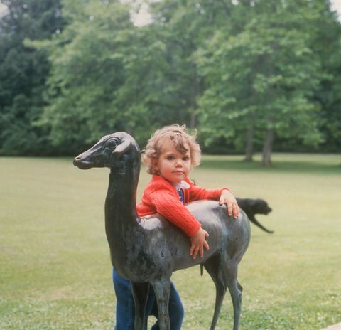 Crown Princess Victoria of Sweden at Solliden Castle on her third birthday on July 14, 1980. (Photo by Keystone/Getty Images)