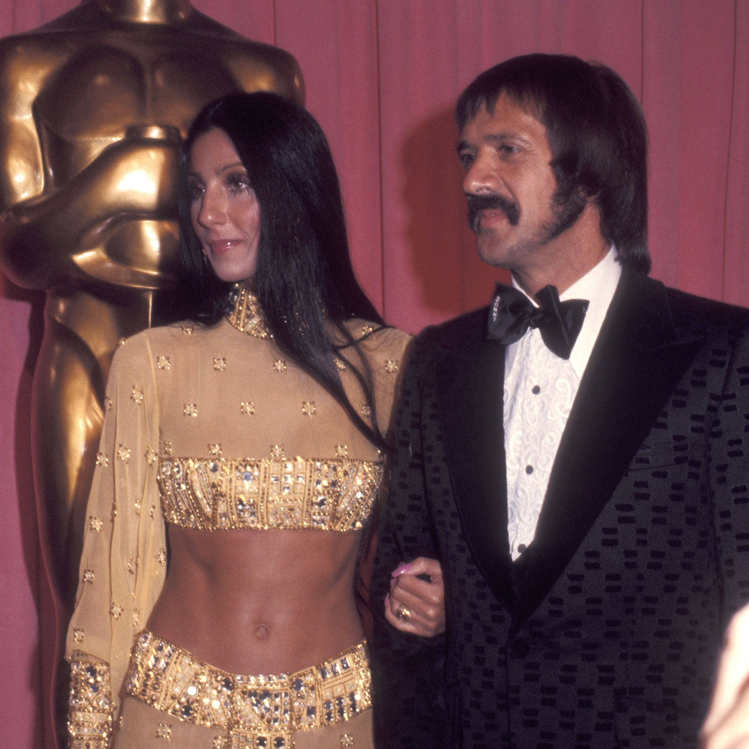 LOS ANGELES - MARCH 27:   Singer Cher and singer Sonny Bono attend the 45th Annual Academy Awards on March 27, 1973 at Dorothy Chandler Pavilion, Los Angeles Music Center in Los Angeles, California. (Photo by Ron Galella/WireImage)