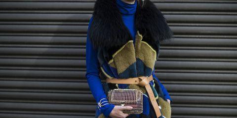 Human body, Electric blue, Street fashion, Costume accessory, Fashion, Cobalt blue, Waist, Costume, Fur, Long hair,