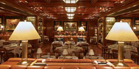 Room, Building, Interior design, Furniture, Ceiling, Table, Restaurant, Chair,