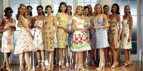 Clothing, Dress, Smile, Trousers, Formal wear, One-piece garment, Waist, Strapless dress, Pattern, Day dress,