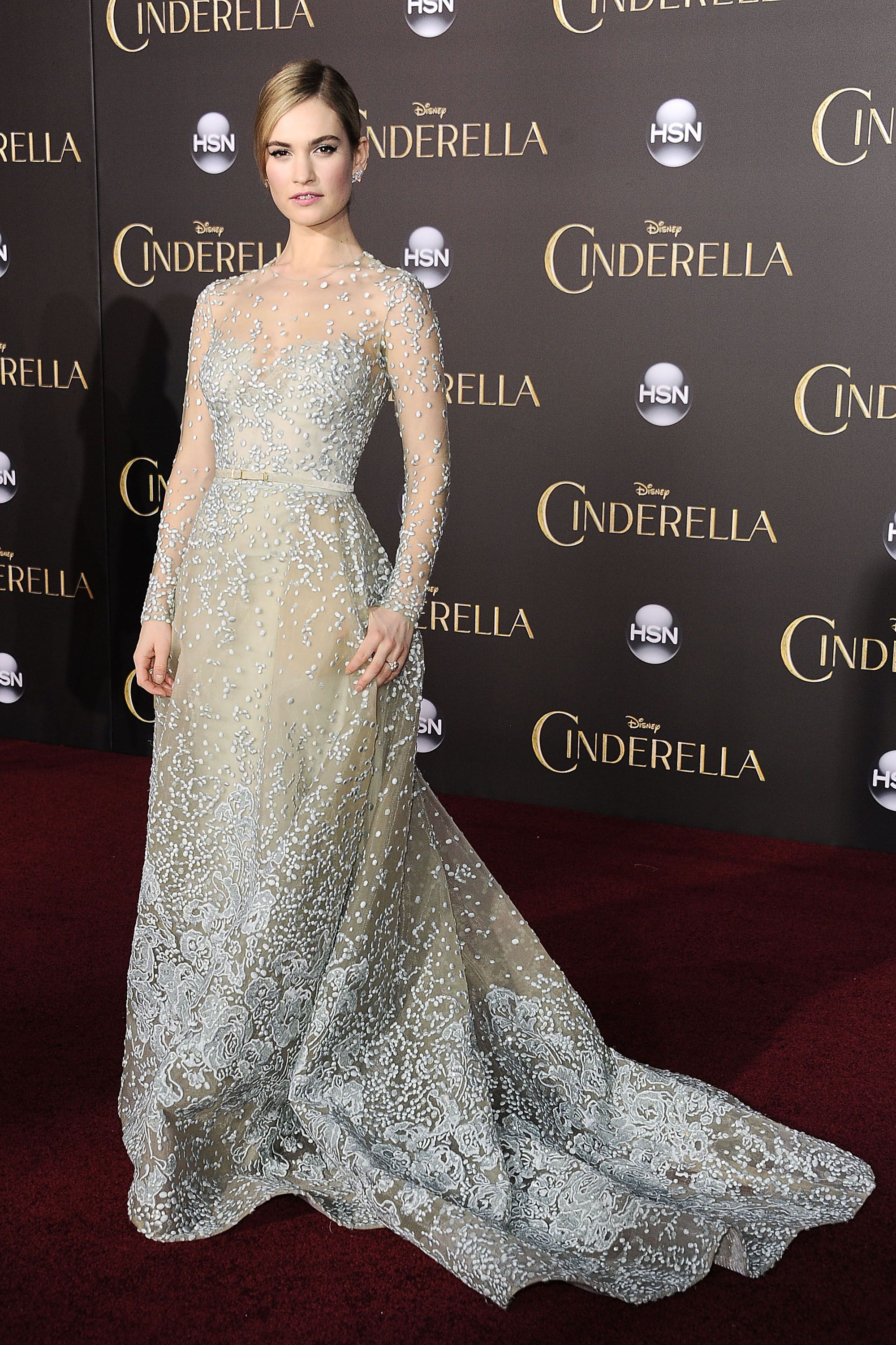 "HOLLYWOOD, CA - MARCH 01:  Actress Lily James attends the premiere of ""Cinderella"" at the El Capitan Theatre on March 1, 2015 in Hollywood, California.  (Photo by Jason LaVeris/FilmMagic)"