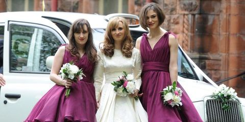 Clothing, Dress, Petal, Bouquet, Photograph, Bridal clothing, Flower, Purple, Pink, Formal wear,