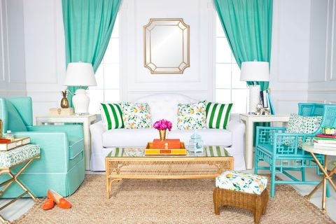 Blue, Room, Green, Interior design, Textile, Furniture, Table, Turquoise, Teal, Living room,
