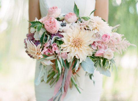 Petal, Bouquet, Flower, Photograph, Dress, White, Pink, Cut flowers, Peach, Wedding dress,
