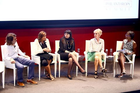 Jacob Lief, Donna Karan, Meighan Stone, Trudie Styler and Deborah Roberts speak at the Town & Country Inaugural Philanthropy Summit at Hearst Tower on May 28, 2014