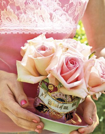 garden roses in vintage china
