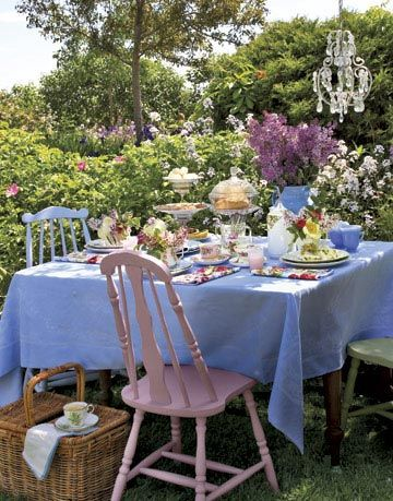 outdoor table set for tea party