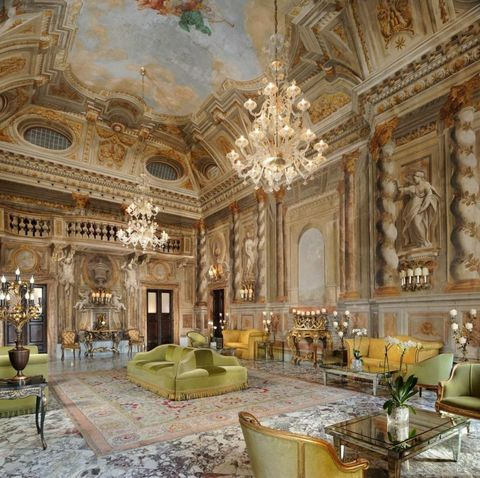 Interior design, Room, Ceiling, Hall, Interior design, Palace, Couch, Light fixture, Chandelier, Molding,