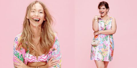 Clothing, Skin, Happy, Dress, Pink, Facial expression, One-piece garment, Jaw, Tooth, Beauty,