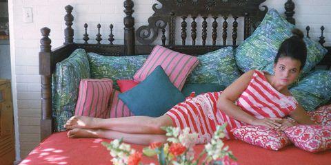 Room, Textile, Interior design, Furniture, Linens, Sitting, Home, Bedding, Bedroom, Pillow,