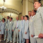 Photograph, White coat, Suit, Uniform, Event, Formal wear, White-collar worker, Ceremony,