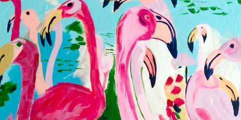 Vertebrate, Red, Pink, Bird, Art, Beak, Paint, Illustration, Flamingo, Painting,