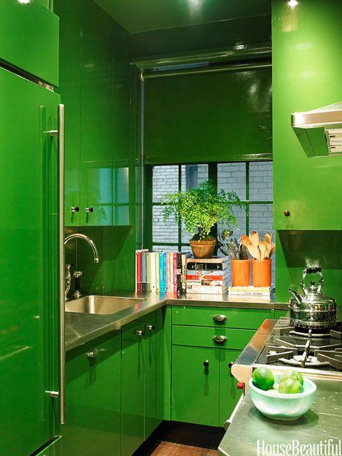 green high gloss kitchen