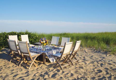 Hamptons Entertaining Dinner Party On Beach