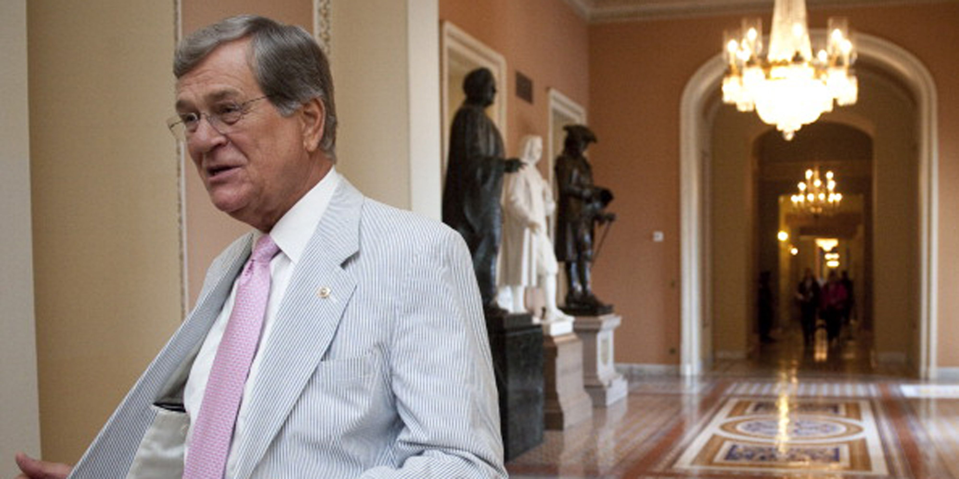 UNITED STATES – JUNE 23: Former Sen. Trent Lott, R-Miss., shows off his seersucker suit in the Ohio Clock Corridor on Thursday, June 23, 2011. The third thursday of June is traditionally called Seersucker Thursday. (Photo By Bill Clark/Roll Call)