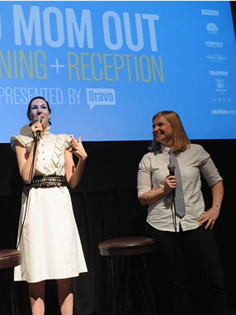 "NEW YORK, NY - MAY 31:  (L-R) Author Jill Kargman and Bravo Head of Development Lara Spotts speak on stage during Vulture Festival And Bravo Present: Screening Of ""Odd Mom Out"" at Tribeca Cinemas on May 31, 2015 in New York City.  (Photo by Brad Barket/Getty Images for New York Magazine)"