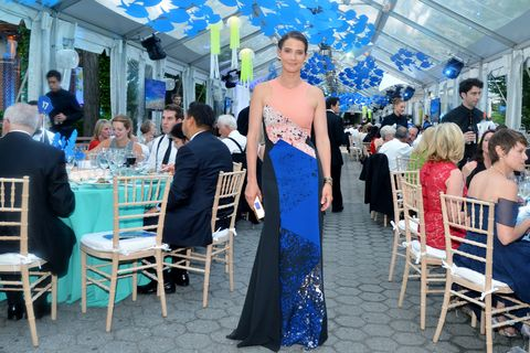 Blue, Event, Dress, Furniture, Chair, Suit, Cobalt blue, Electric blue, Outdoor furniture, Gown,