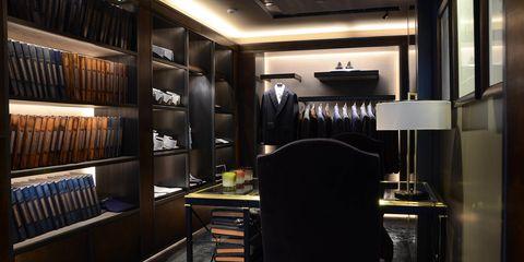 Lighting, Interior design, Room, Shelf, Ceiling, Shelving, Chair, Interior design, Light fixture, Cupboard,