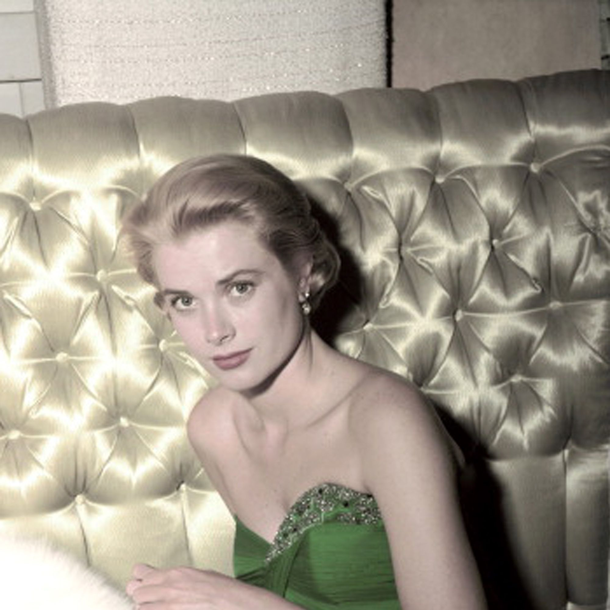 American actress Grace Kelly (1929 - 1982) wearing a green dress for St Patrick's Day, 1954. (Photo by Gene Lester/Getty Images)