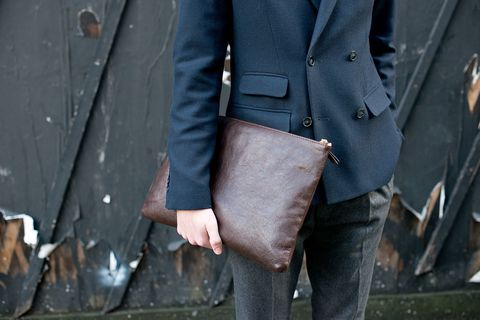 Clothing, Brown, Sleeve, Denim, Trousers, Textile, Outerwear, Bag, Jeans, Collar,