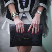 Pink, Street fashion, Black, Clothing, Fashion, Magenta, Leather, Hand, Nail, Outerwear,