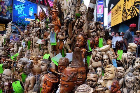 Collection, Creative arts, Pottery, Umbrella, Craft, Fictional character, Market, Sculpture,