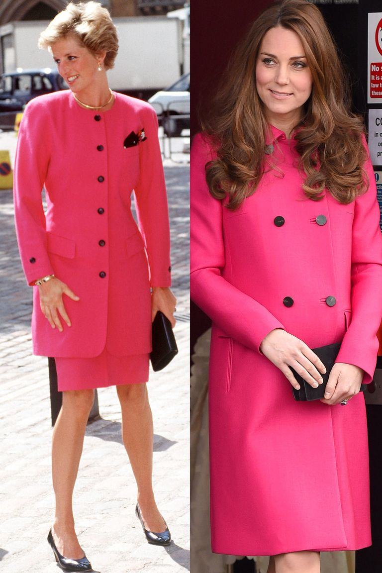Diana visiting Westminster in June 1990 in a shocking pink skirt suit with black buttons, and Kate in the same color dress coat (complete with the button detailing) while pregnant with Princess Charlotte in March 2015.