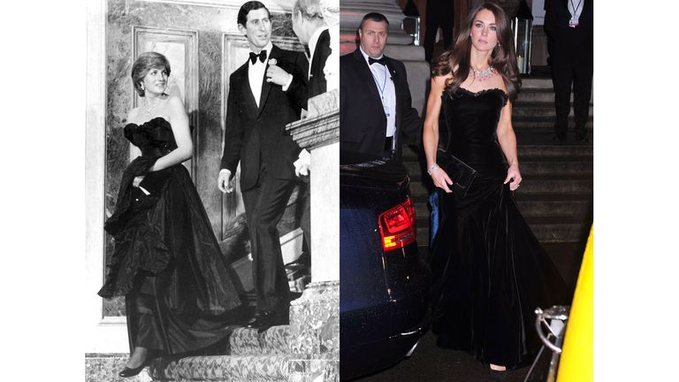 Diana at London's Goldsmith's Hall in 1981 wearing a strapless black gown with a ruffle at the bodice; Kate in a similar look in black velvet at the Sun Military Awards in 2011.