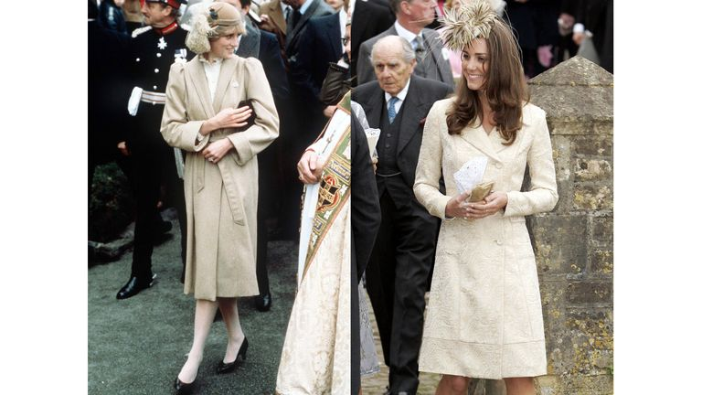 Diana wearing a tan outfit with a matching feather plume fascinator on her first official visit to Wales in 1981 and Kate wearing a gold coat and fascinator at the wedding Laura Parker Bowles and Harry Lopes in 2006.