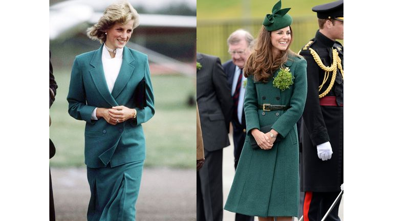 Diana in an emerald Jasper Conran suit in 1983, and Kate in the same hue at a St. Patrick's Day parade in 2014.