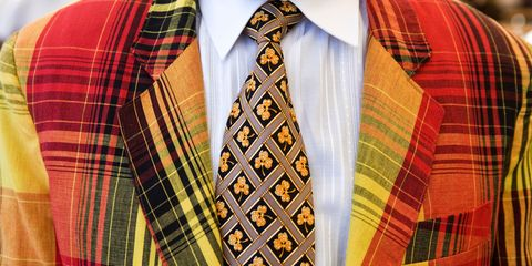 Brown, Dress shirt, Yellow, Collar, Pattern, Sleeve, Plaid, Textile, Tartan, Red,