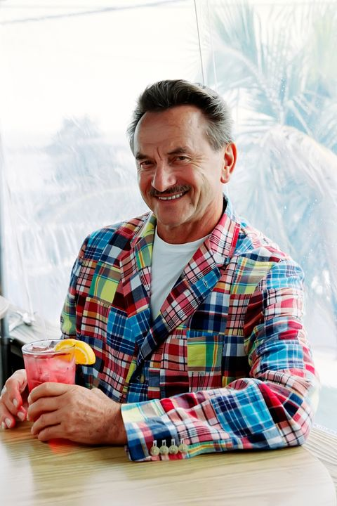 Plaid, Textile, Tartan, Dress shirt, Pattern, Drink, Tooth, Drinking, Laugh, Facial hair,