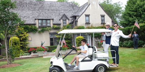 Golf cart, Tire, Wheel, Product, House, Real estate, Home, Lawn, Roof, Cottage,
