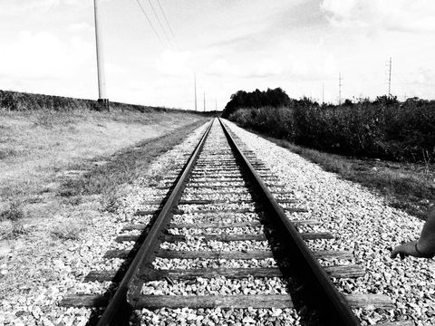 Track, Transport, Monochrome photography, Monochrome, White, Line, Colorfulness, Horizon, Black-and-white, Overhead power line,