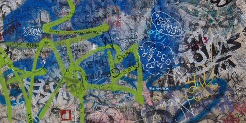 Blue, Text, Font, Graffiti, Electric blue, Azure, Majorelle blue, Street art, Handwriting, Paint,