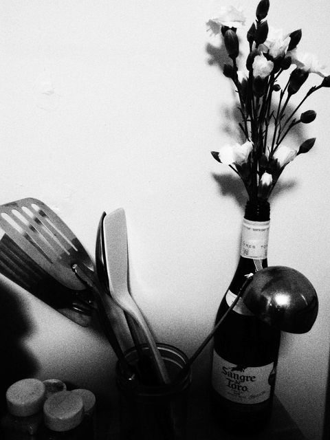 Glass bottle, Bottle, Wine bottle, Barware, Still life photography, Monochrome photography, Black-and-white, Photography, Monochrome, Drinkware,