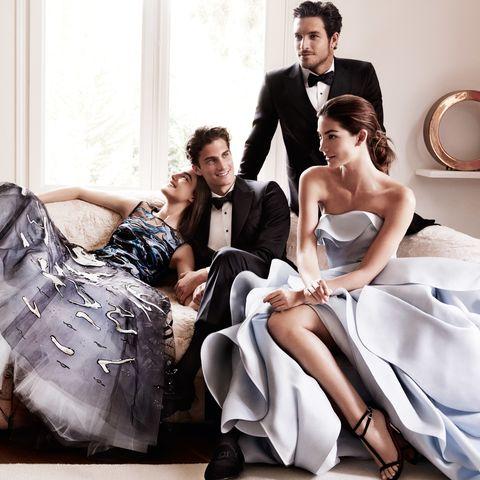 Clothing, Photograph, Dress, Formal wear, Coat, Style, Sitting, Bridal clothing, Suit, Fashion,