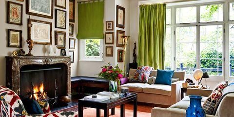 Room, Interior design, Wood, Green, Hearth, Flowerpot, Table, Living room, Furniture, Interior design,