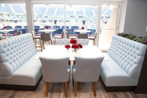 Blue, Room, Interior design, Furniture, Table, Floor, White, Couch, Flooring, Living room,
