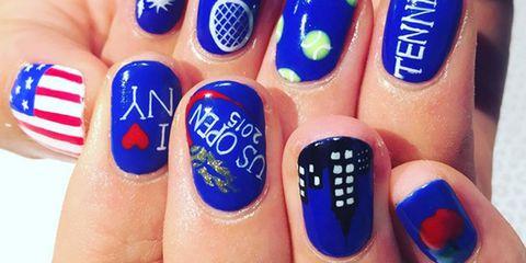 Blue, Liquid, Finger, Skin, Nail, Nail polish, Nail care, Majorelle blue, Manicure, Orange,