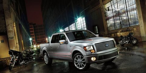 """<p>This Ford pickup cost Harley-Davidson fans around <a href=""""http://www.caranddriver.com/news/ford-f-150-news-2011-harley-davidson-f-150-revealed"""">$50,000</a>. They got an F-150 with a 6.2 liter V8 and a rumble-tuned exhaust. Harley-Davidson badges were sewn into the seats.</p>"""