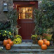 Pumpkin, Orange, Home, Yellow, Plant, Porch, Fruit, House, Winter squash, Door,