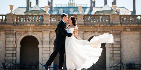 Clothing, Coat, Dress, Trousers, Bridal clothing, Suit, Bride, Photograph, Wedding dress, Outerwear,