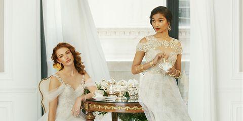 Shoulder, Textile, Bridal clothing, Photograph, Dress, Jewellery, Bridal accessory, Fashion accessory, Table, Wedding dress,