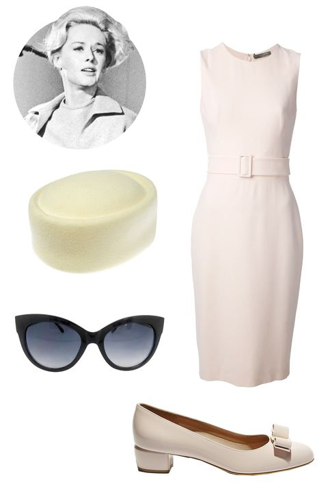 """<p>Alexander McQueen Belted Pencil Dress, $1,156; <a href=""""http://www.farfetch.com/shopping/women/alexander-mcqueen-belted-pencil-dress-item-10588753.aspx?storeid=9336&ffref=lp_pic_120_1_"""" target=""""_blank"""">farfetch.com</a></p><p>Salvatore Ferragamo Vara, $525; <a href=""""http://www.ferragamo.com/shop/en/usa/women/shoes/vara-1-601023--1#beginIndex=60&pId=6148914691233618391"""" target=""""_blank"""">ferragamo.com</a></p><p>Sir La Tete Promise Pillbox Hat, $32; <a href=""""http://www.villagehatshop.com/product/pillbox-hats/451139-5812/sur-la-tete-promise-pillbox.html"""" target=""""_blank"""">vintagehatshop.com</a></p><p>Target Cateye Sunglasses, $17; <a href=""""http://www.target.com/p/women-s-non-branded-cateye-sunglasses-black/-/A-18752028#prodSlot=_1_20"""" target=""""_blank"""">target.com</a></p>"""