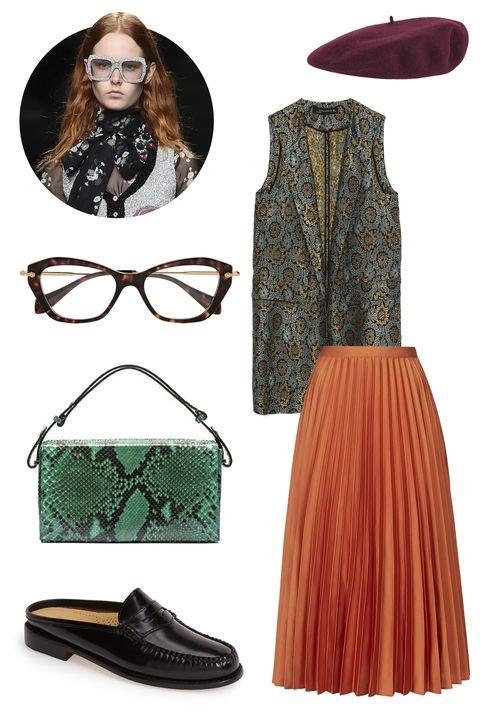 "<p>Zara Jacquard Waistcoat, $129; <a href=""http://www.zara.com/us/en/woman/co-ord-sets/jacquard-waistcoat-c749003p2773239.html"" target=""_blank"">zara.com</a></p><p>Topshop Satin Pleated Midi Skirt, $105; <a href=""http://us.topshop.com/en/tsus/product/clothing-70483/skirts-70504/satin-pleated-midi-skirt-4705647?bi=0&ps=200"" target=""_blank"">us.topshop.com</a></p><p>G&H Westward Slip-On Loafer, $80; <a href=""http://shop.nordstrom.com/s/g-h-bass-and-co-westward-slip-on-loafer-women/3994899?cm_mmc=Google_Product_Ads_pla_online-_-datafeed-_-women:shoes:flats-_-1076494&gclid=CO3XxebjmMgCFQGTaQodvHQFTA&mr:referralID=6e0b699d-6590-11e5-a824-0050569406b5"">shop.nordstrom.com</a></p><p>Marni Runway Book Bag, $2,140; <a href=""http://www.marni.com/us/shoulder-bag_cod45273215ls.html"" target=""_blank"">marni.com</a></p><p>Gucci Wool Felt Beret, $295; <a href=""http://www.gucci.com/us/styles/398456KTE006001?gclid=CO7s8aTkmMgCFQpDaQodeFQJDw#398456KTE006001"" target=""_blank"">gucci.com</a></p><p>Miu Miu Cat Eye Acetate Optical Glasses, $340; <a href=""http://www.net-a-porter.com/product/530607/Miu_Miu/cat-eye-acetate-optical-glasses"" target=""_blank"">net-a-porter.com</a></p>"