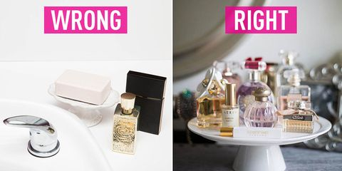 Perfume, Magenta, Rectangle, Cosmetics, Lavender, Serveware, Natural material, Silver, Household supply, Glass bottle,